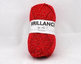 yarn with shiny lurex No. 412 red shine mark Oke