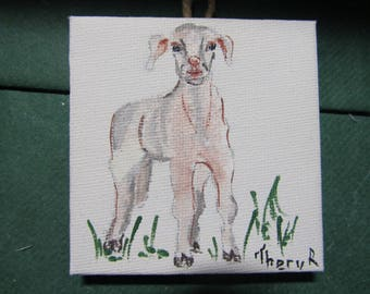 Lamb painted on small canvas