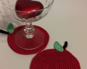 Valentine's set of 2 coasters of glass in cotton