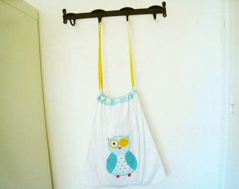 Yellow and blue pattern laundry bag OWL