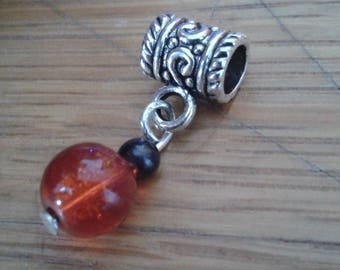 Aries bead charm Crackle Red