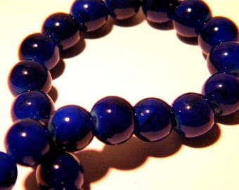 50 beads - 8 mm - blue - marbled glass PG173