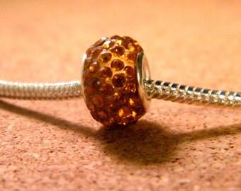 bead charms European 65 orange rhinestones - 14 x 9 mm-CHA-C-20-9