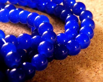 "50 glass way ""jade"" 6 mm beads - royal blue - PE89"