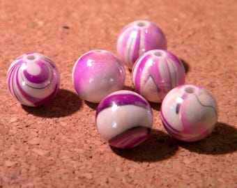 10 iridescent pearls wave 10 mm - tones colors - purple-PE 296-1