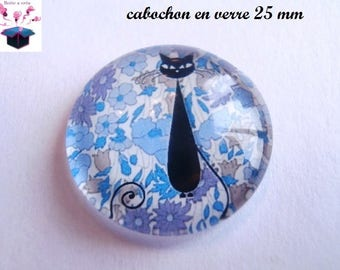 1 cabochon clear 25 mm liberty black cat theme