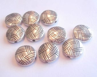 antiqued silver wall size 12 mm 10 beads