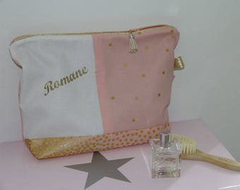 Toiletry bag cotton sweatshirt, custom name pink and gold