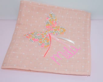 Powder Pink Lange 60 x 60 with butterfly liberty Wiltshire lemon curd, personalized name