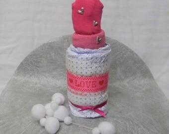 Bottle socks gift baby girl diaper cake