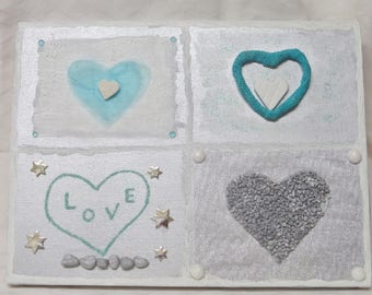 Frame painting on canvas frame silver gray heart and turquoise