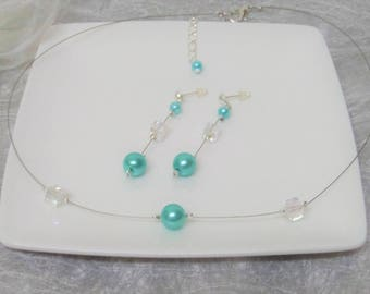 Wedding Choker necklace earrings turquoise pearls