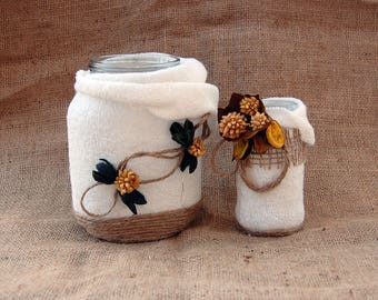 Shabby Chic Upcycling flower vases, candle holders, favor idea