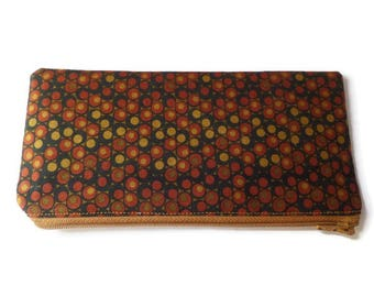 Zippered Cosmetic Bag, Makeup Pouch, Toiletries Purse, Pencil Case, Earthy Colors Fabric, Fully Lined, for Men and Women