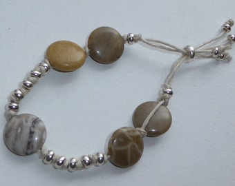 Natural, fossilized coral stone bracelet