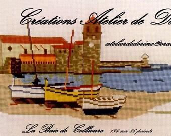 COLLIOURE, cross stitch card