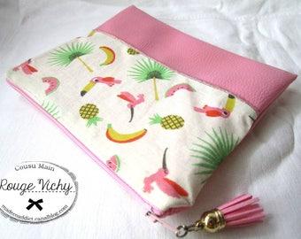 Trousse maquillage tissu coton toucans, pastèques, ananas et simili cuir rose pour femme et enfants