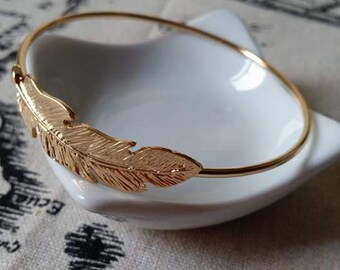Bangle Gold feather 6.6 cm
