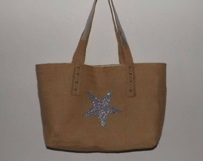 Bag, Tote, shabby, Star, romantic, chic, natural burlap fabric, handmade, gift for her unique original, Valentine's day