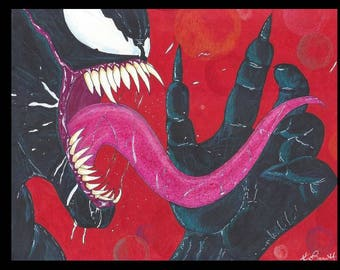 This is a limited edition print of Venom signed and numbered by artist Kevin Barrett