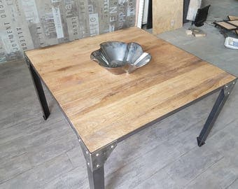 Dining room table foot riveted solid oak top