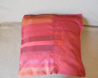 Pillow cover: Red Burgundy, plum and copper on chevron weave.