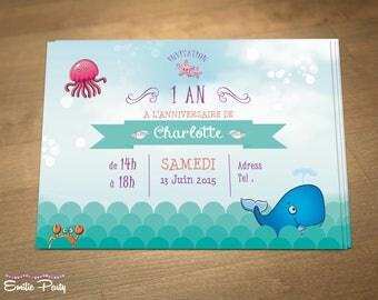 Personalized printable birthday invitation theme: ocean