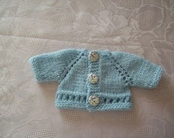 clothes for dolls of 32 33 cm, with babies: Cardigan by hand (blue)