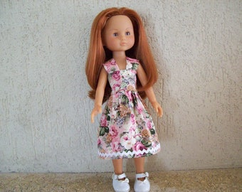cherished dolls cotton dress (floral cotton, old rose)