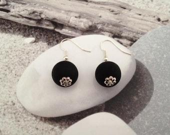Earrings black and mini ball caps