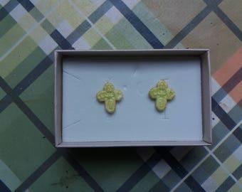 Phosphorescent butterfly earrings.  Green Cross