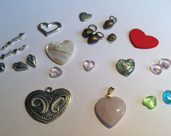 set of heart shaped beads