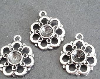 x 10 medium metal supports cabochon silver Locket Flower cabochon 18 mm cabochon