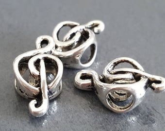 4 European beads 13 x 9 mm beads and silver note, music note bead compatible pandora