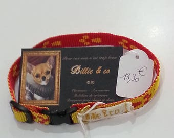 Yellow and Red necklace made of polyester for small dogs