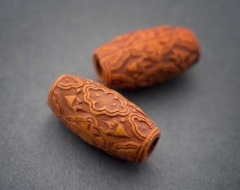 4 pcs - etched Lucite beads orange brown, olive, barrel, vintage, rustic • 19mm x 10mm