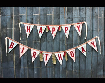 Indians Pow Wow Happy Birthday fabric bunting