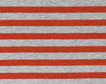 Red Orange Heather Grey Half Inch Stripe Cotton Jersey Blend Knit Fabric **UK Seller**