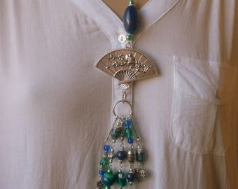 Ethnic necklace Bohemian green, blue and silver