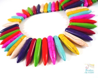 "20 beads mixed colors, 25mm (PH46) Howlite ""teeth"""