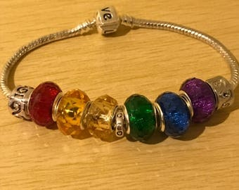 Gay Pride Rainbow Coloured European Bracelet