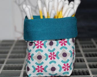 Basket for q-tips - reversible - vintage pattern