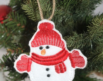 White felt Snowman Christmas Tree decoration , Christmas ornament