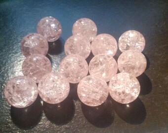 3 pink Crackle quartz circular 12 mm beautiful quality