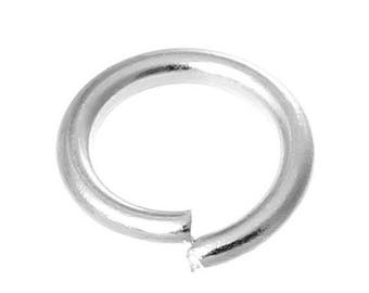 100 round 6mm diameter silver jump rings
