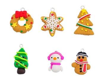 6 mixed pendants charms polymer Noël Cadeau under 15 days