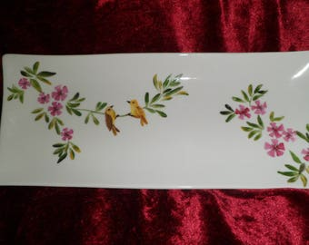 customizable Oleander pattern and bird tray