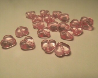 20 HEARTS 10MM PINK BEADS