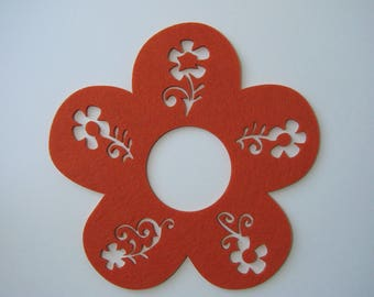 Orange felt flower decal, 20 cm.