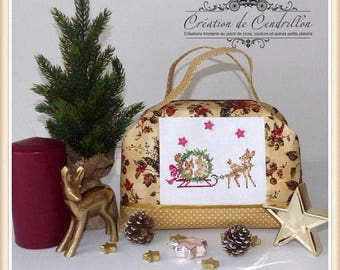 Small Suitcase/Christmas bag/Child's bag/ Cross stitch embroidery/Cross stitch christmas